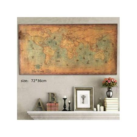 Topumt Vintage World Map Home Decor Nautical Poster Wall Chart Kraft Paper Painting Retro (Best Nautical Chart App)