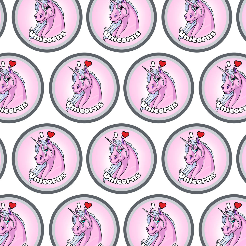 I Love Heart Unicorns Pink Premium Gift Wrap Wrapping Paper Roll