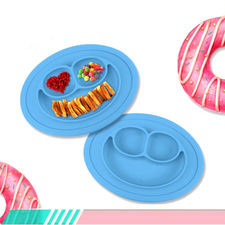 1x Silicone Baby Snack Happy Mat Toddler Placemat Plate Bowl Kids Happy Mat Children Suction Table Food Tray (Silicone Kids Happy Mat)