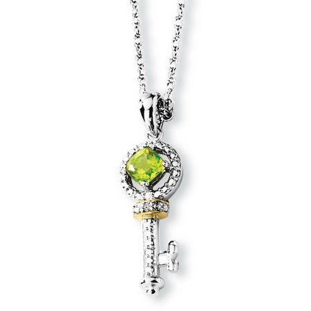 Sterling Silver & 14K Yellow Gold 17in Peridot and Diamond Key -