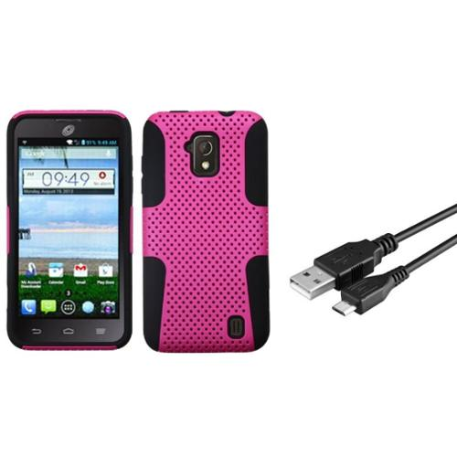 Insten Hot Pink/Black Astronoot Phone Protective Case Cover For ZTE Solar Z795G (+ USB Data Charging Cable)