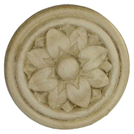 Birch Wood Applique - Two Circles Surronding Medallion - 2-5/16 - Onlays and Appliques for Furniture - G10-3491