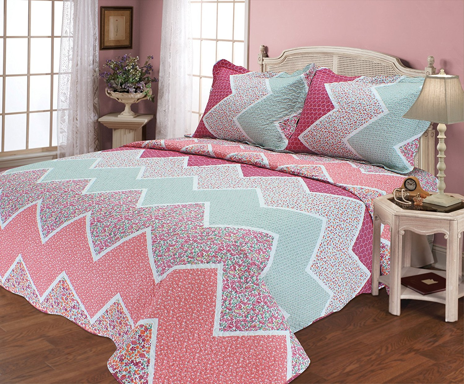 All for You 3pc Reversible Quilt Set, Bedspread, and Coverlet with Flower Prints-4... by All For You Home