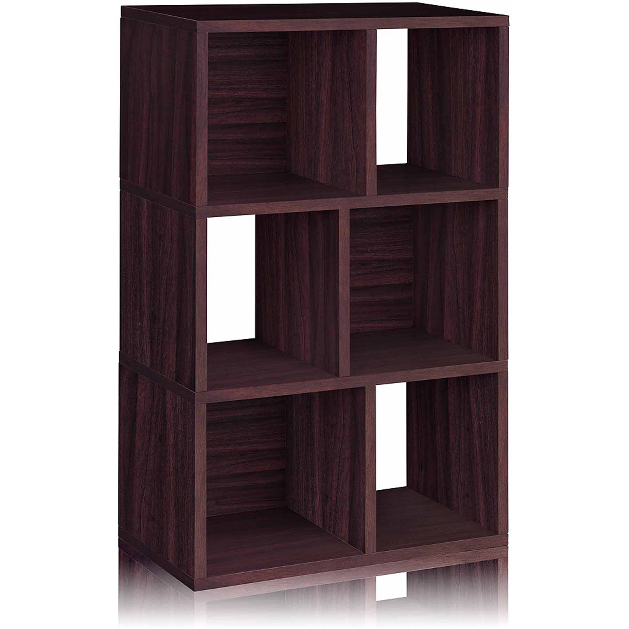 Way Basics Eco 3-Shelf Laguna Bookcase and Cubby Storage, Espresso