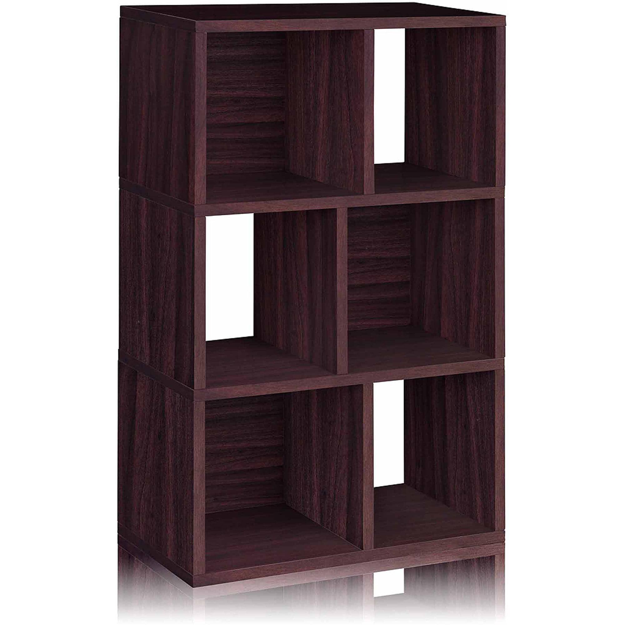 Way Basics Eco 3-Shelf Laguna Bookcase and Cubby Storage, Espresso