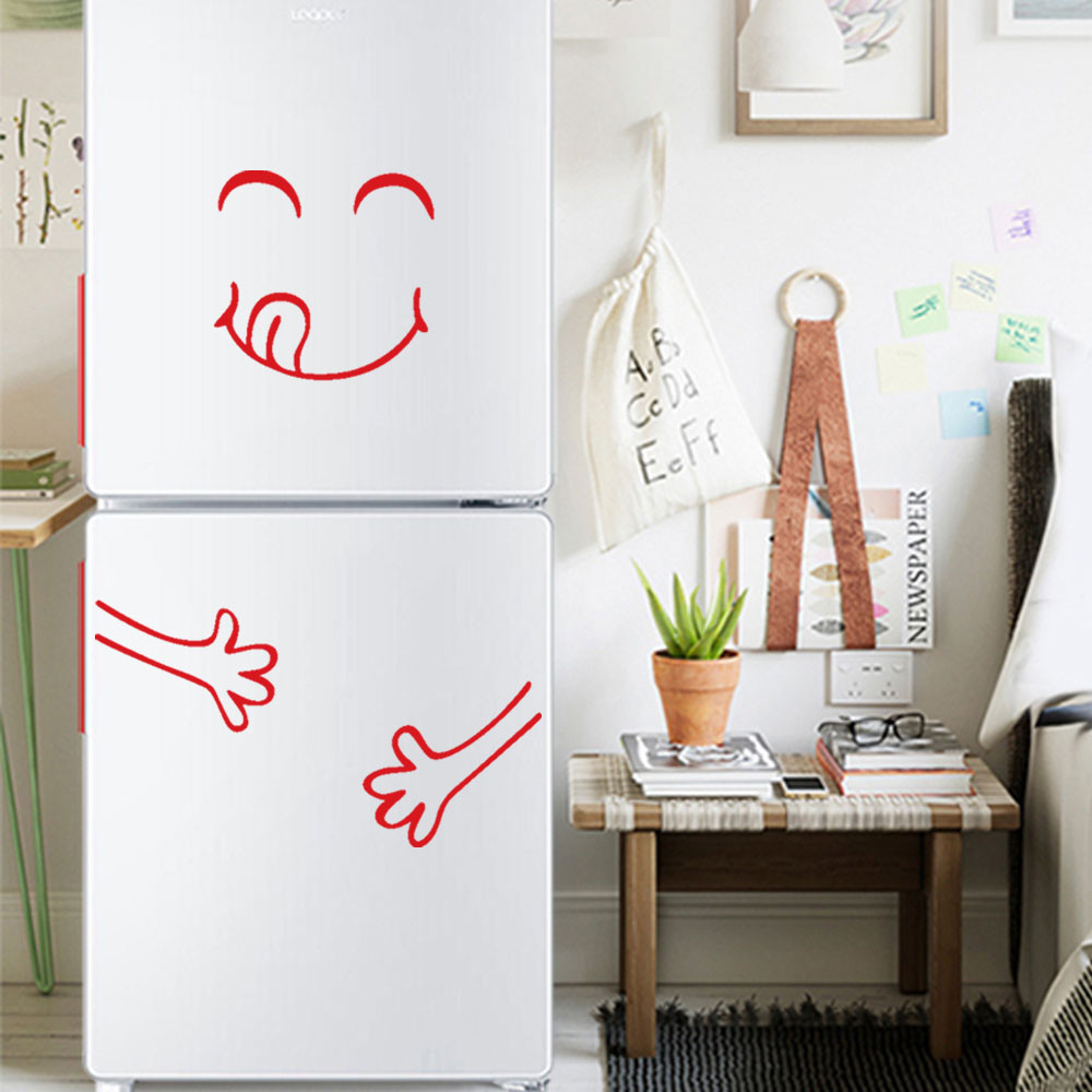 Cute Sticker Fridge Happy Delicious Face Kitchen Fridge Wall Stickers Art