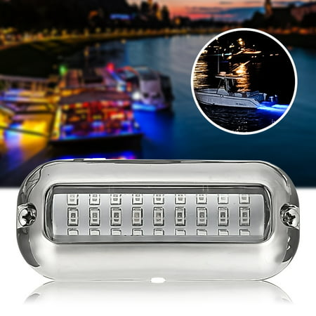 3.5'' Underwater Pontoon Boat Transom Fishing Light Stainless Steel 316SS Cover 27 Blue LED 50W ()