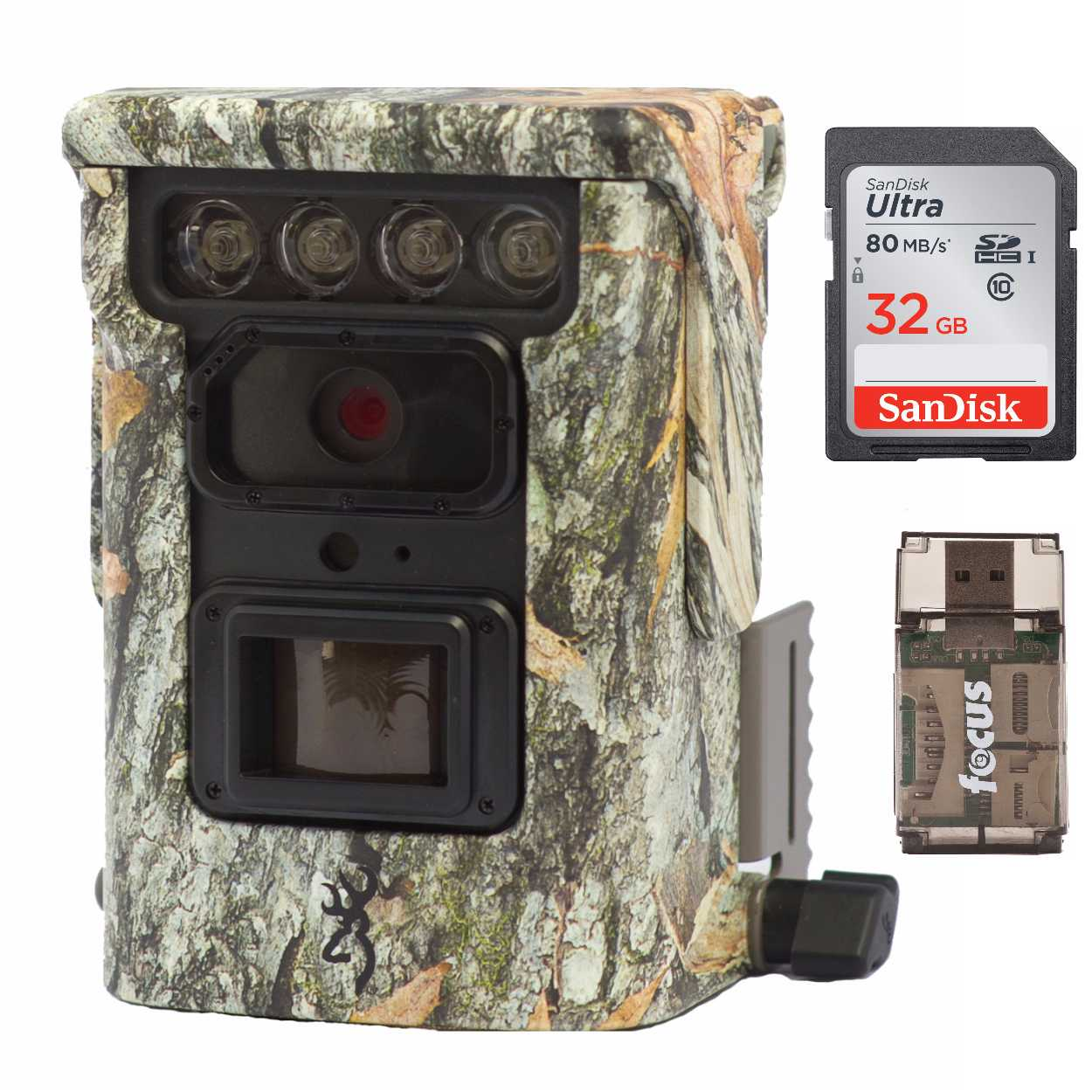 Browning Defender 850 Trail Camera (Camo) + SanDisk Ultra 32GB Memory Card + Card Reader by Browning Trail Cameras