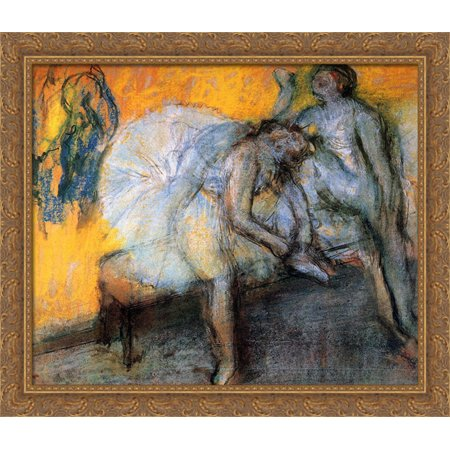 Two Dancers in Yellow and Pink 34x28 Large Gold Ornate Wood Framed Canvas Art by Edgar Degas (Gold Pink)