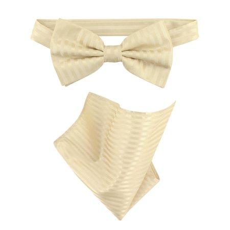 Vesuvio Napoli BowTie Egg Yolk Cream Vertical Stripe Mens Bow Tie & Handkerchief
