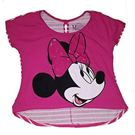 [P] Disney Juniors' Minnie Mouse Big Bow Stripe Back T shirt - Shocking Pink (XL)