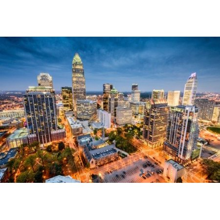 Charlotte Nc Halloween (Laminated Poster Charlotte North Carolina Skyline Glossy Poster Banner View Nc Poster Print 24 x)
