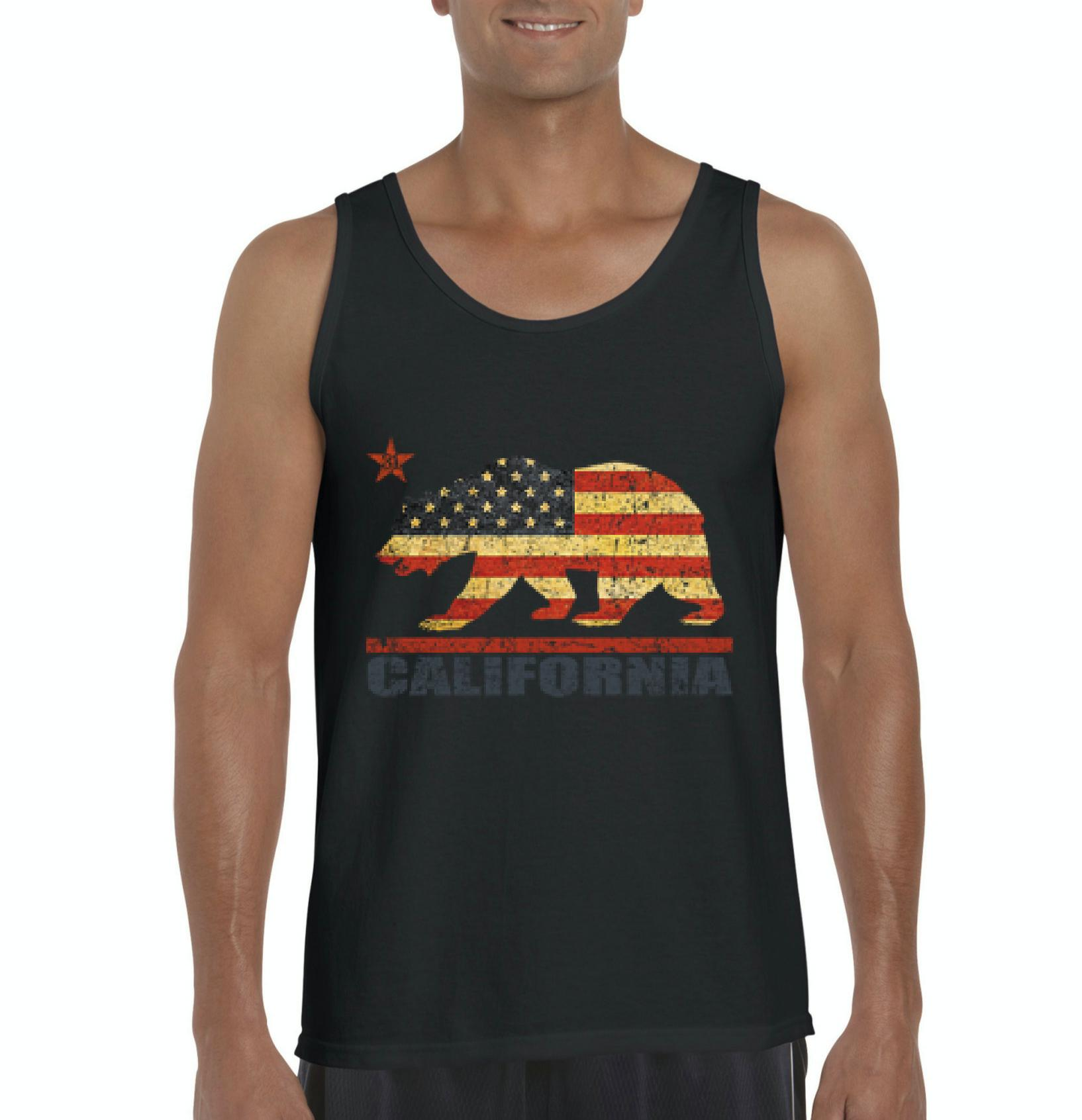 J_H_I California Americana Bear Gift for Hollywood CA USA Flag 4th of July Mens Tanks