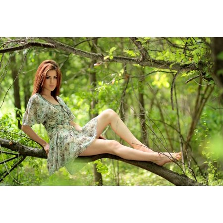 Canvas Print Residence Dress Girl Green Casey Forest Stretched Canvas 10 x (Forest Print Dress)