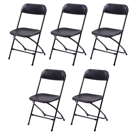 Top Knobs Commercial Plastic Folding Chairs Stackable Wedding Party Event Chair Black (5-PACK) (Knoll Plastic Chair)