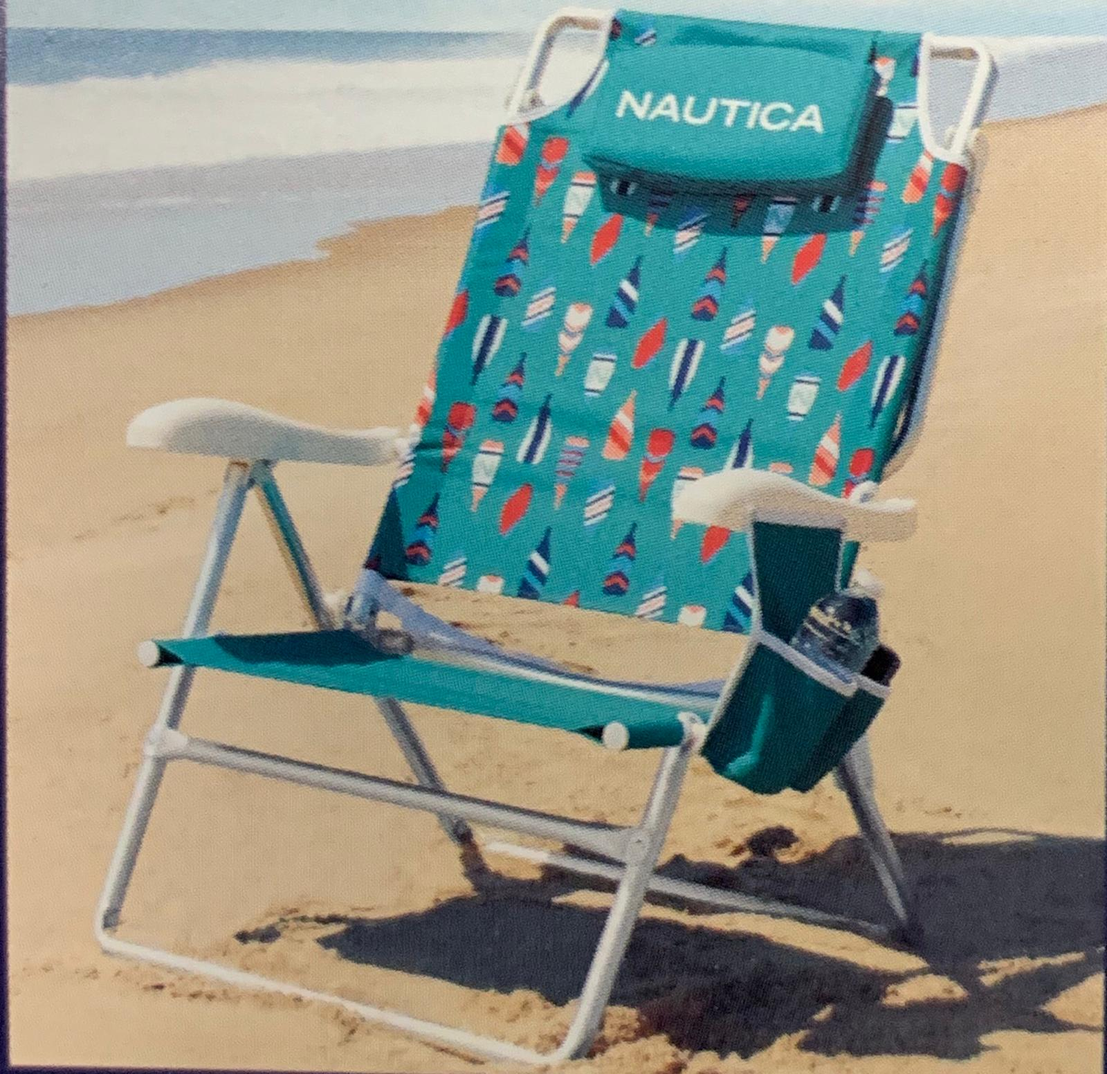 Nautica Jumbo Beach Chair 7 Position With Large Insulated Cooler And Double Cup Holder Up To 300 Pounds