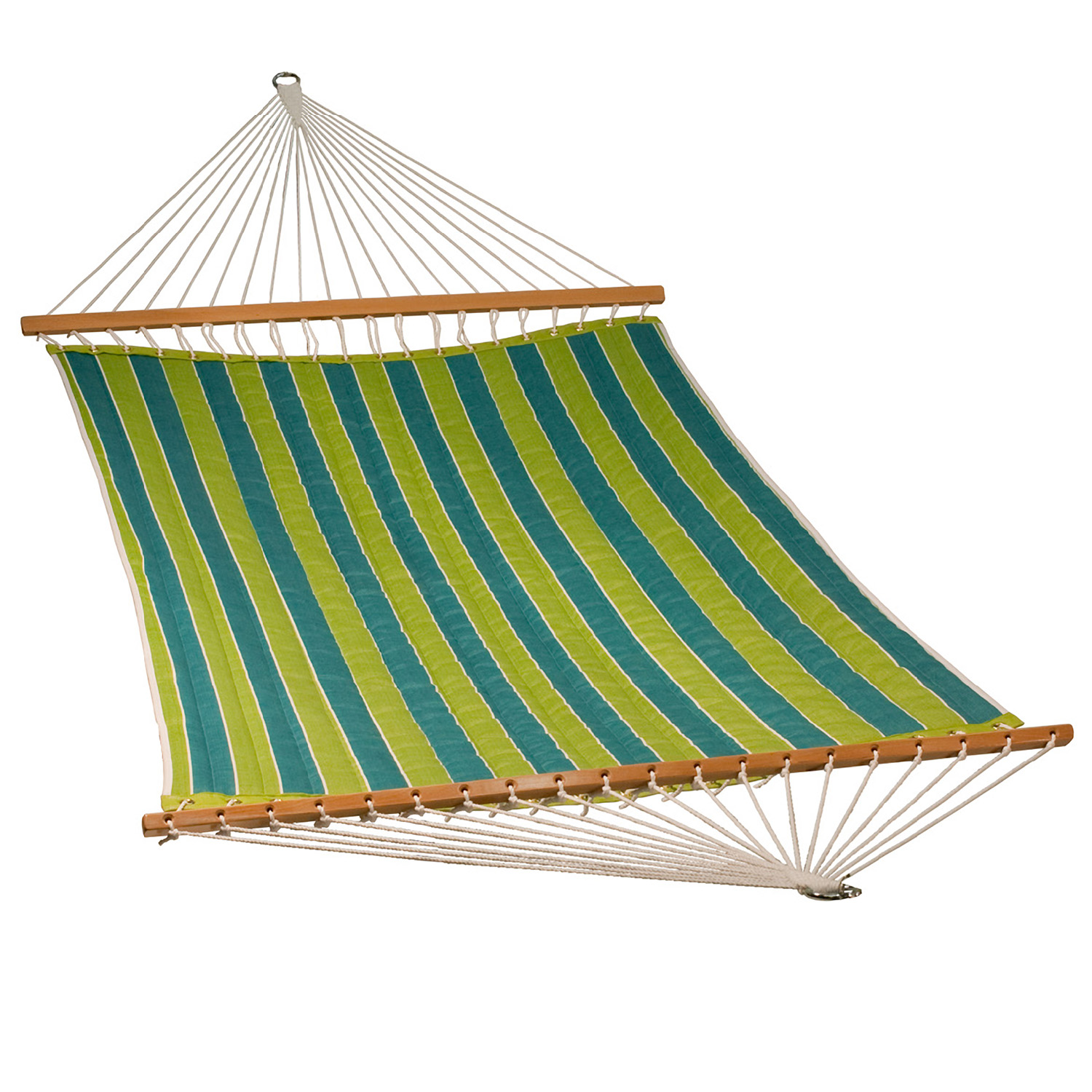 """82"""" x 55"""" Teal Blue and Green Reversible Stripe Pattern Quilted Cobble Willow Hammock"""