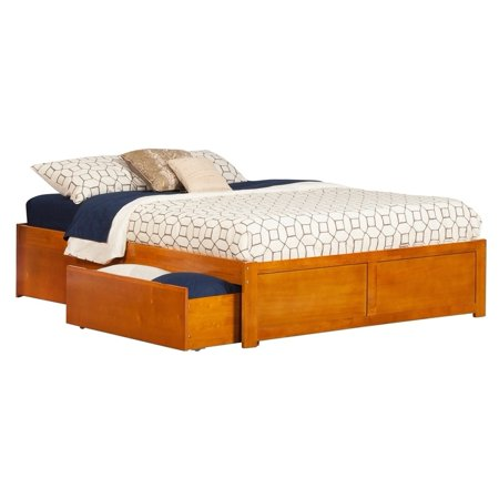 Atlantic Furniture Concord King Platform Bed with Flat Panel Foot Board and 2 Urban Bed Drawers in Caramel