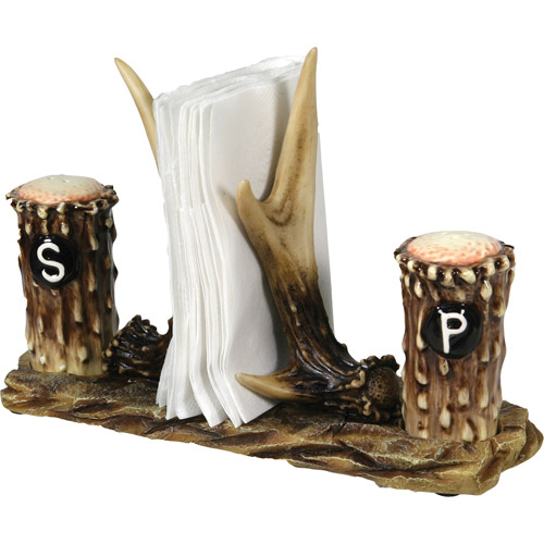 Rivers Edge Products Antler Salt and Pepper with Napkin Holder