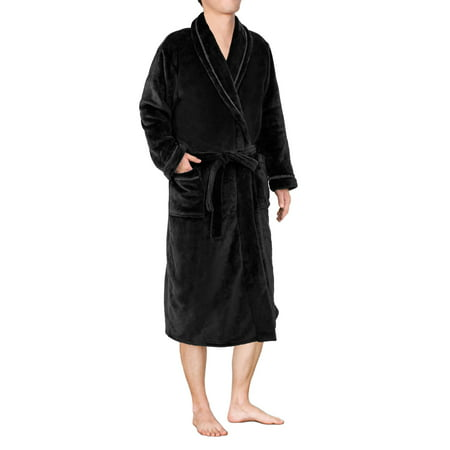 Mens Plush Fleece Robe with Shawl Collar | Soft, Warm, Lightweight Spa Bath Robe