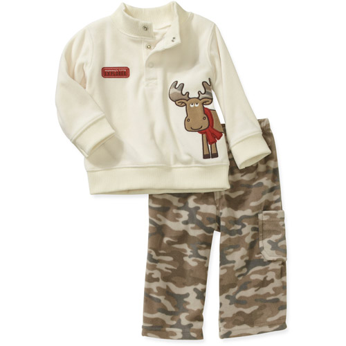 Child of Mine Carters Newborn Boys' 2-Piece Micro Fleece Mock Neck Top and Pant Set