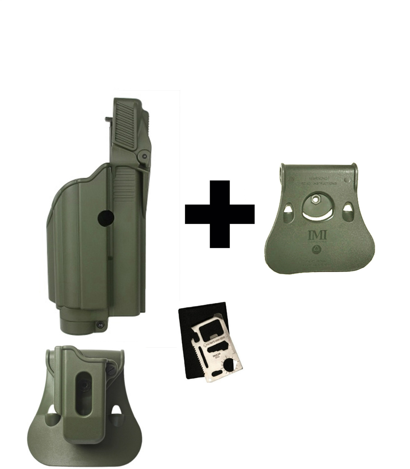 IMI Defense ZSP08 Single Mag Pouch & Paddle + Z1600 Level 2 Flashlight Laser 360� Rotate Holster Glock 17 19 22 23 25 31... by
