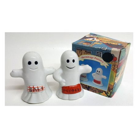 Vintage 1995 Hermitage Pottery Halloween Ghosts Salt &