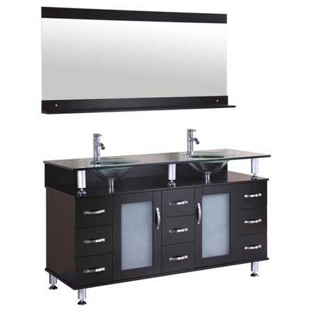 LessCare 60'' Double Glass Top Vanity Set with Mirror