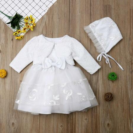 3pcs Baby Girls Princess Dress Lace Christening Wedding Party Dresses Clothes