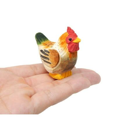 Mini Brown Hen - Miniature Hand-Painted Wooden Chicken Bird Art Decoy Carved Ornament Figurine Small Farm Animals Collectible Hand Blown Miniature