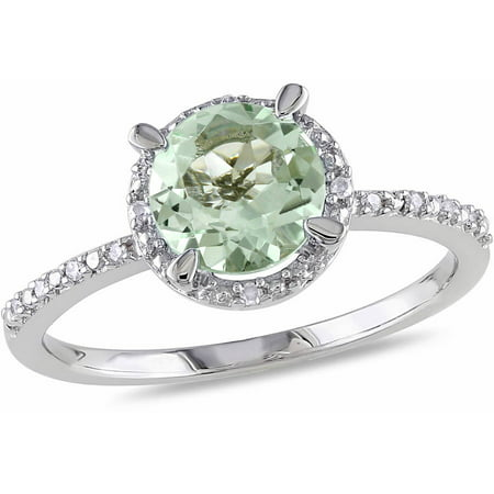 1-1/6 Carat T.G.W. Green Amethyst and Diamond Accent Sterling Silver Halo Ring (Green Amethyst And Diamond Ring)