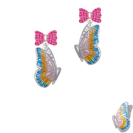 Large Translucent Pastel Flying Butterfly Hot Pink Bella Bow Crystal Earrings