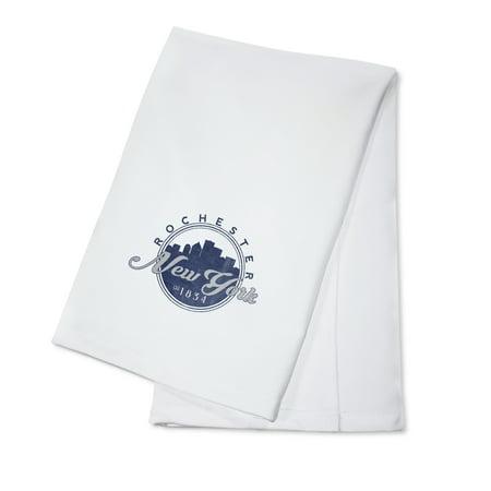 Rochester, New York - Skyline Seal (Blue) - Lantern Press Artwork (100% Cotton Kitchen Towel)