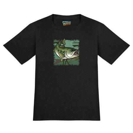 Bass Fish Swimming in River Men's Novelty T-Shirt