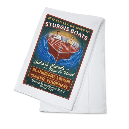 Vintage Wooden Boats (Sturgis, Michigan - Wooden Boats - Vintage Sign - Lantern Press Artwork (100% Cotton Kitchen Towel) )