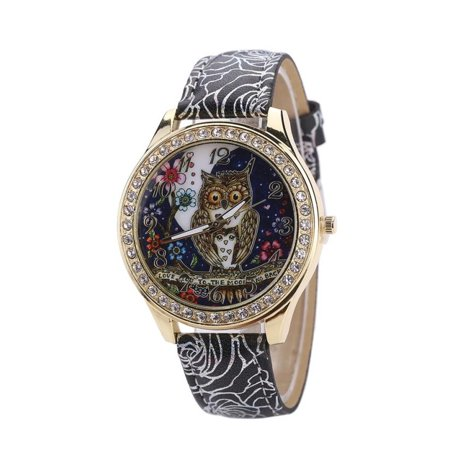 Classic Design Crystal Owl Watch With I Love You to the Moon and Back Silver Rose Black Band Watch-255 (Watch What You Wish)