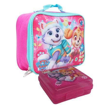 Girls Paw Patrol Skye Everest Insulated Lunch Bag Pink & Sandwich