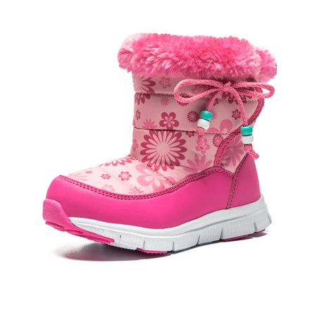 Girls Snow Boots Travel Outdoor Lightweight Winter Fashion Comfortable Warm Shoes ()
