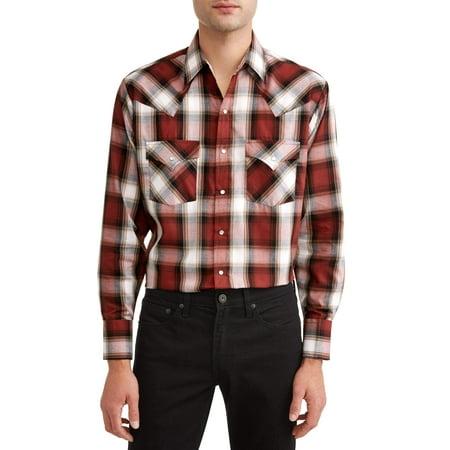 - Plains Plain's mens long sleeve textured dobby plaid western shirt, up to size 4xl