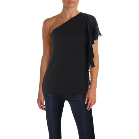 Lauren Ralph Lauren Womens Florrah Sheer Ruffle One Shoulder Blouse