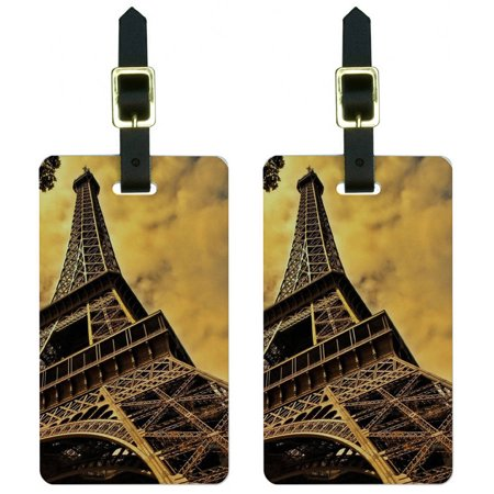 Eiffel Tower Paris Vintage Luggage Tags Suitcase Carry-On ID, Set of 2