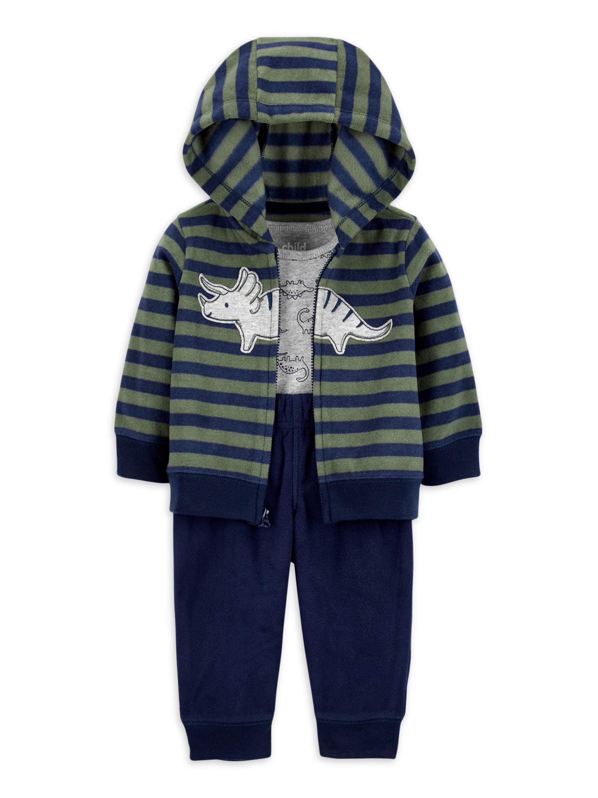Pants and Sweater Fleece Hooded Jumpsuit Simple Joys by Carters Baby Boys 3-Piece Fleece Playwear Set