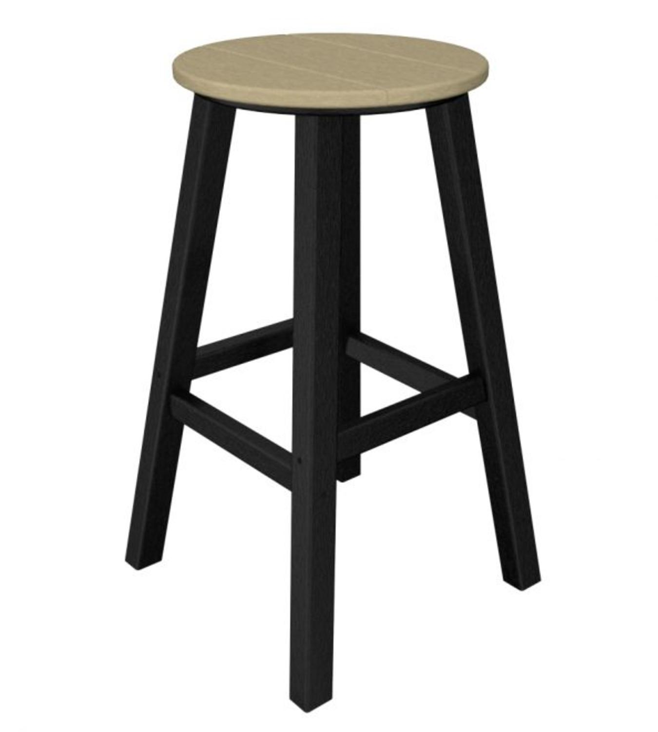 """29.25"""" Recycled Earth-Friendly Patio Bar Stool - Sand Brown w/ Black Frame"""