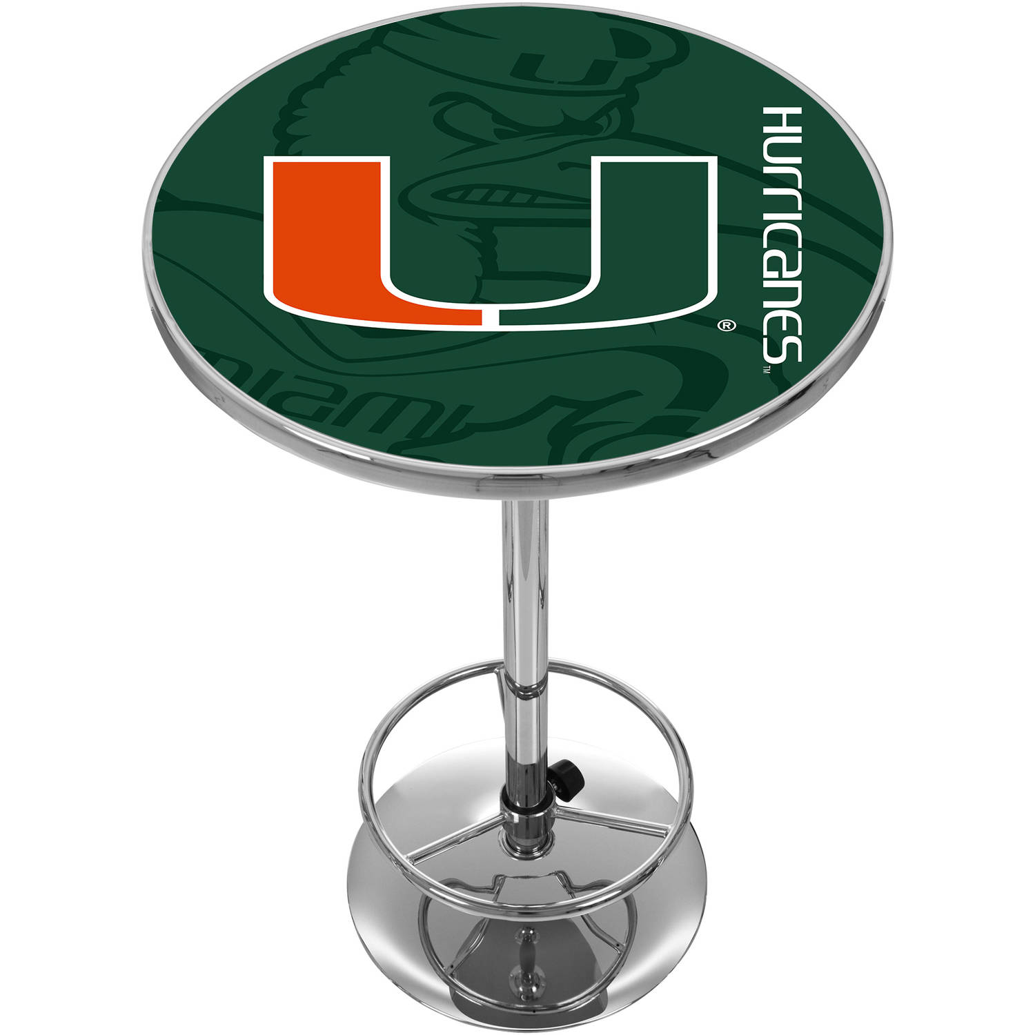 University of Miami Chrome Pub Table, Fade