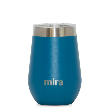 MIRA 12 oz Wine Tumbler Cup | Vacuum Insulated Stainless Steel Stemless Wine Glass with BPA-Free Lid | Hawaiian Blue - Halloween Wine Glass Ideas