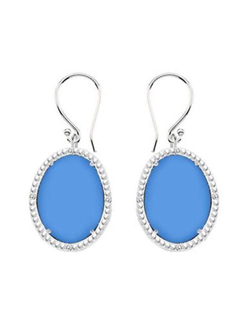 Fine Jewelry Vault UBERBK70384W10DCBU 10K White Gold Blue Chalcedony and Diamond Earrings 30.16 CT TGW by Fine Jewelry Vault