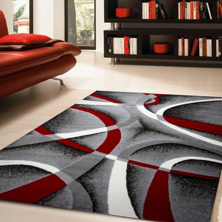 Ebern Designs Nevaeh Graywhitewine Redblack Area Rug Walmartcom