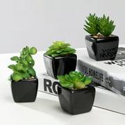 Modern Mini Artificial Succulent Plants Potted in Cube-Shape Black Ceramic Pots for Home Decor, Set of 4