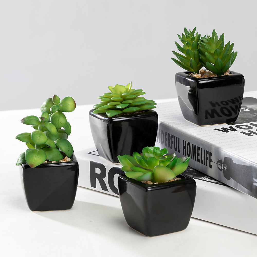 Modern Mini Artificial Succulent Plants Potted in Cube-Shape Black Ceramic Pots for Home Decor, Set of 4