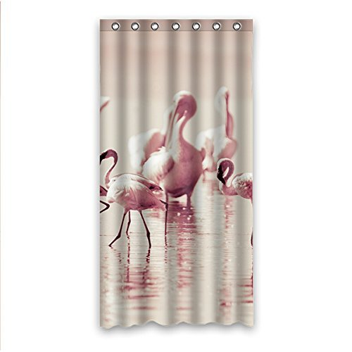 GreenDecor Flamingo Waterproof Shower Curtain Set with Hooks Bathroom Accessories Size 36x72 inches